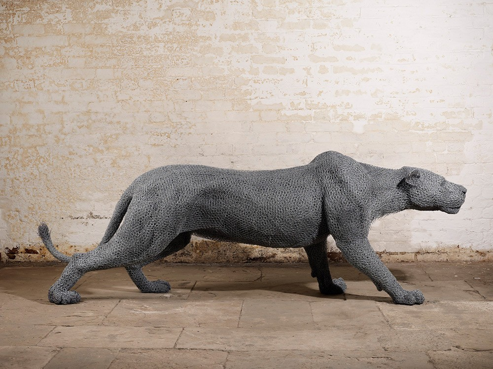 Kendra Haste Animal Wire Sculpture STALKING LIONESS