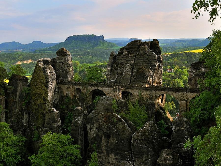 Bastei Bridge in the Elbe Sandstone Mountains, Germany