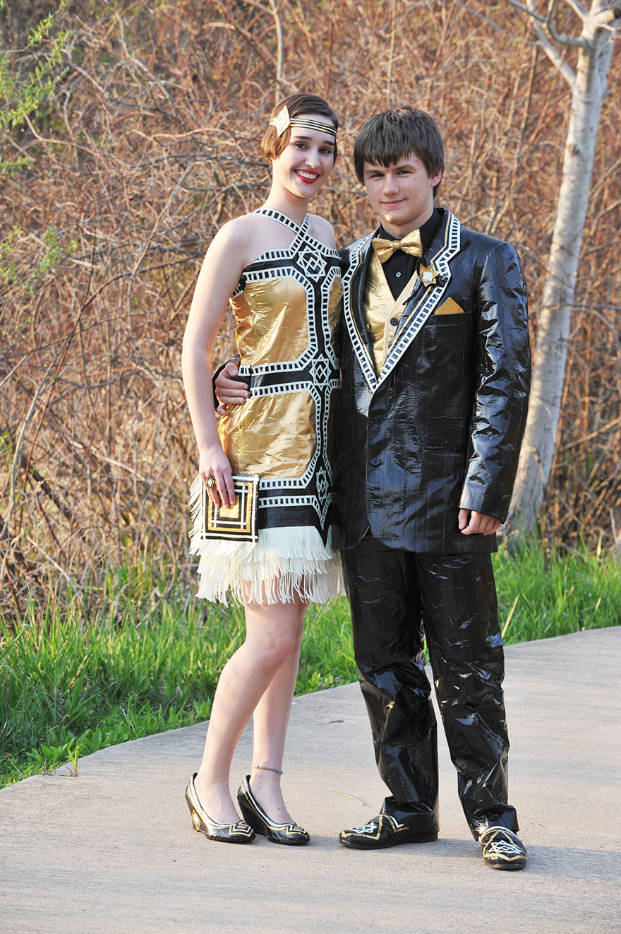 Ryan Danko and Gabrielle Farina - duck-tape-stuck-at-prom-outfit 8476574