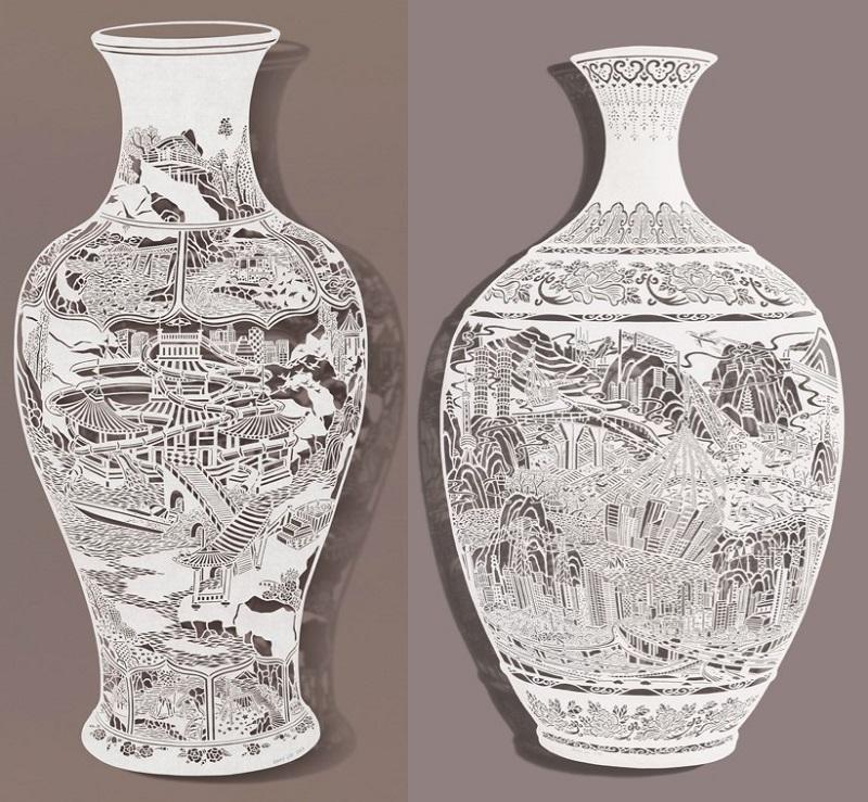 1-Bovey Lee - Cut Paper - Vases
