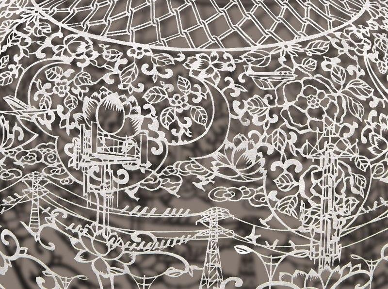 1-Bovey Lee - Cut Paper - vase - details