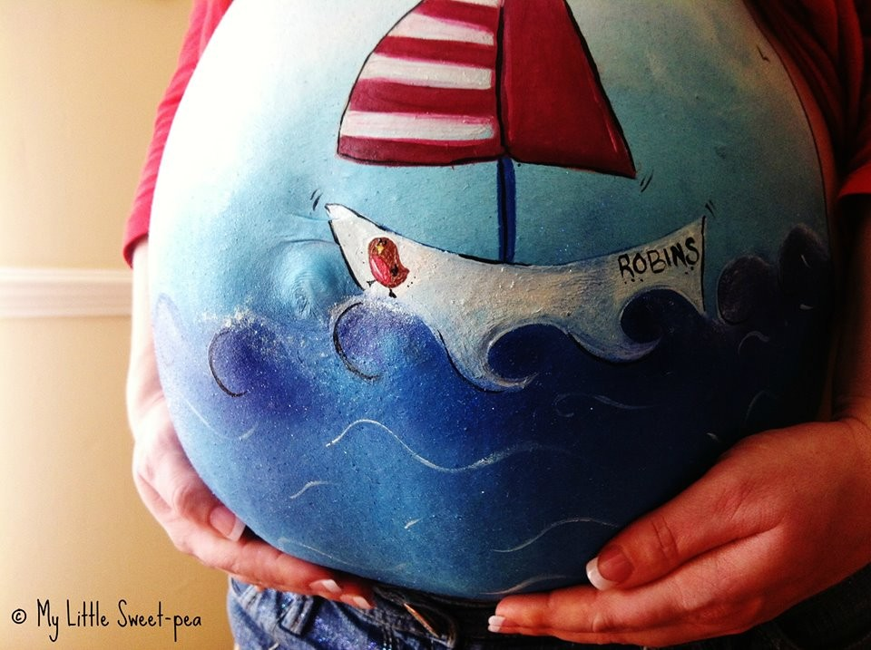 Carrie Preston - Pregnancy Bump Painting  6954253