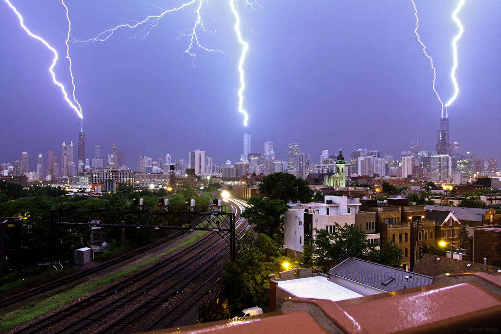 Lightning Strikes – Chicago – Willis Tower, Trump Tower And John Hancock 2154856