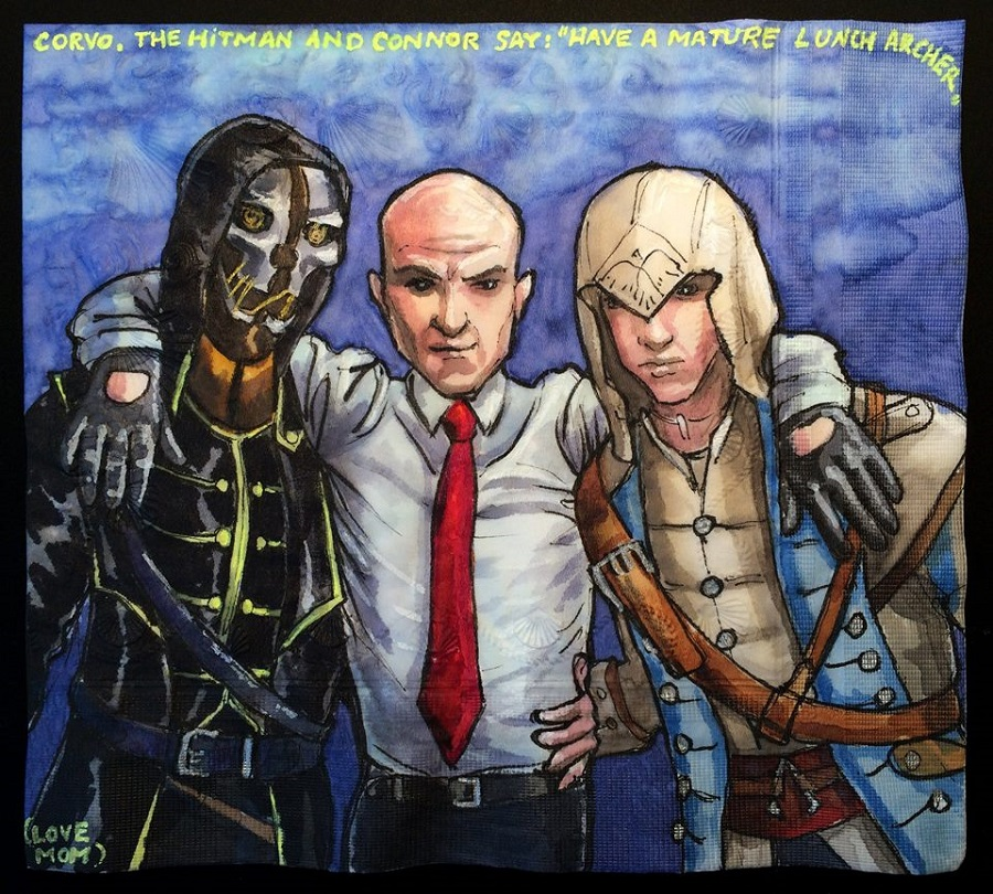 Nina Levy - Napkin Drawings - Corvo Agent 47 and Connor Kenway