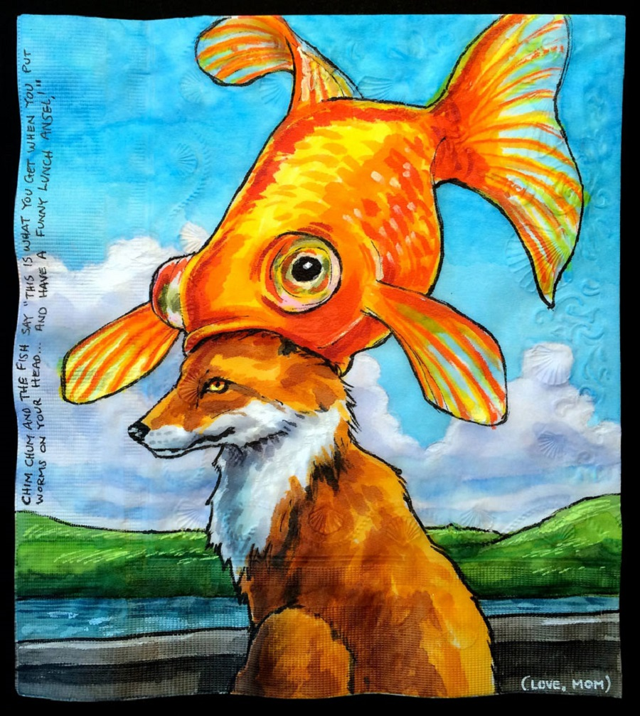 Nina Levy - Napkin Drawings - Fox With A Fish