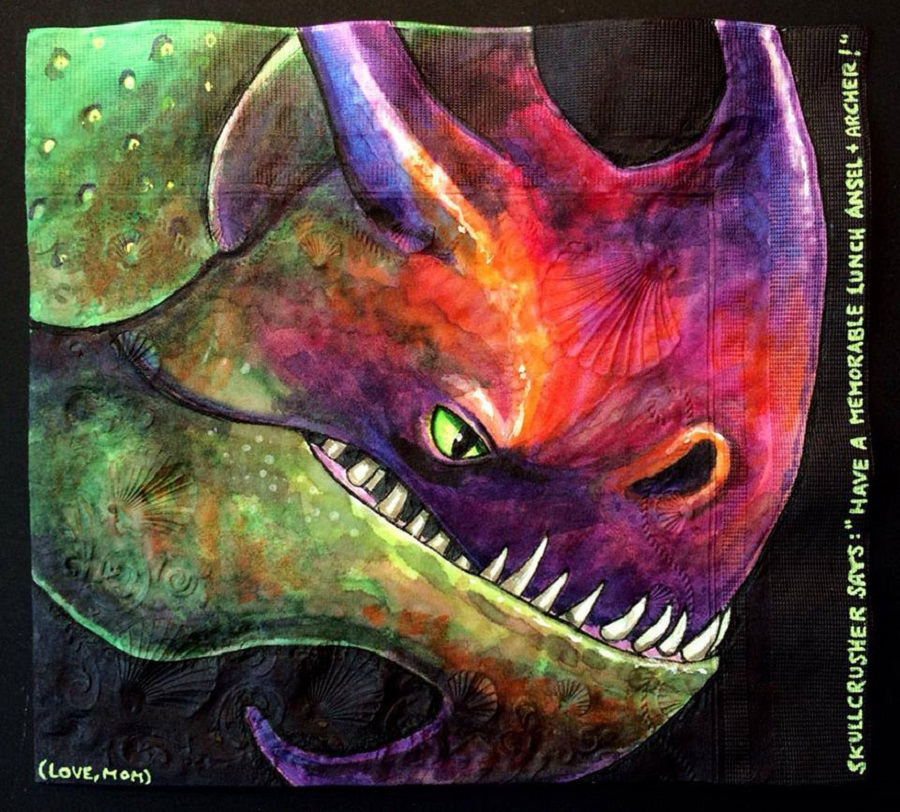 Nina Levy - Napkin Drawings - Hiccup's Father, Stoick's Dragon, Skullcrusher