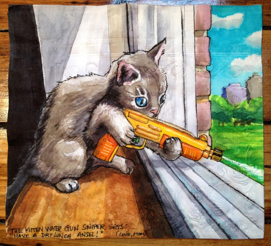 Nina Levy - Napkin Drawings - Kitty Water Gun Sniper