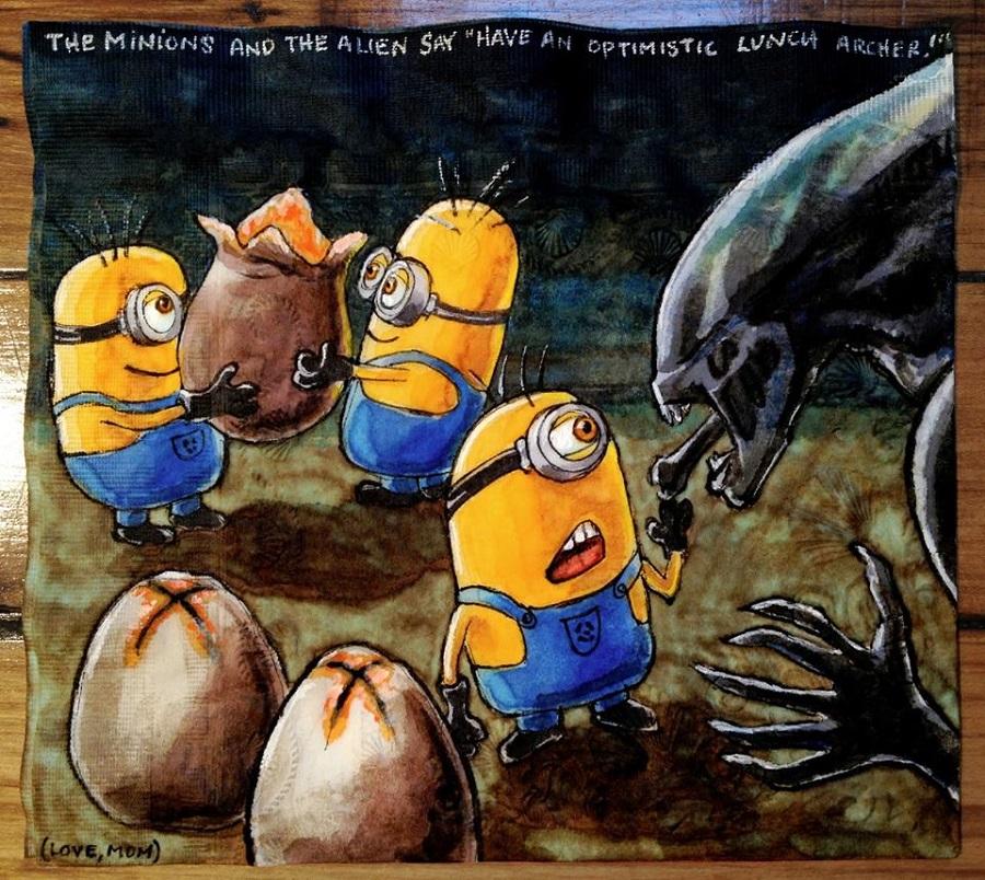 Nina Levy - Napkin Drawings - Minions and Aliens