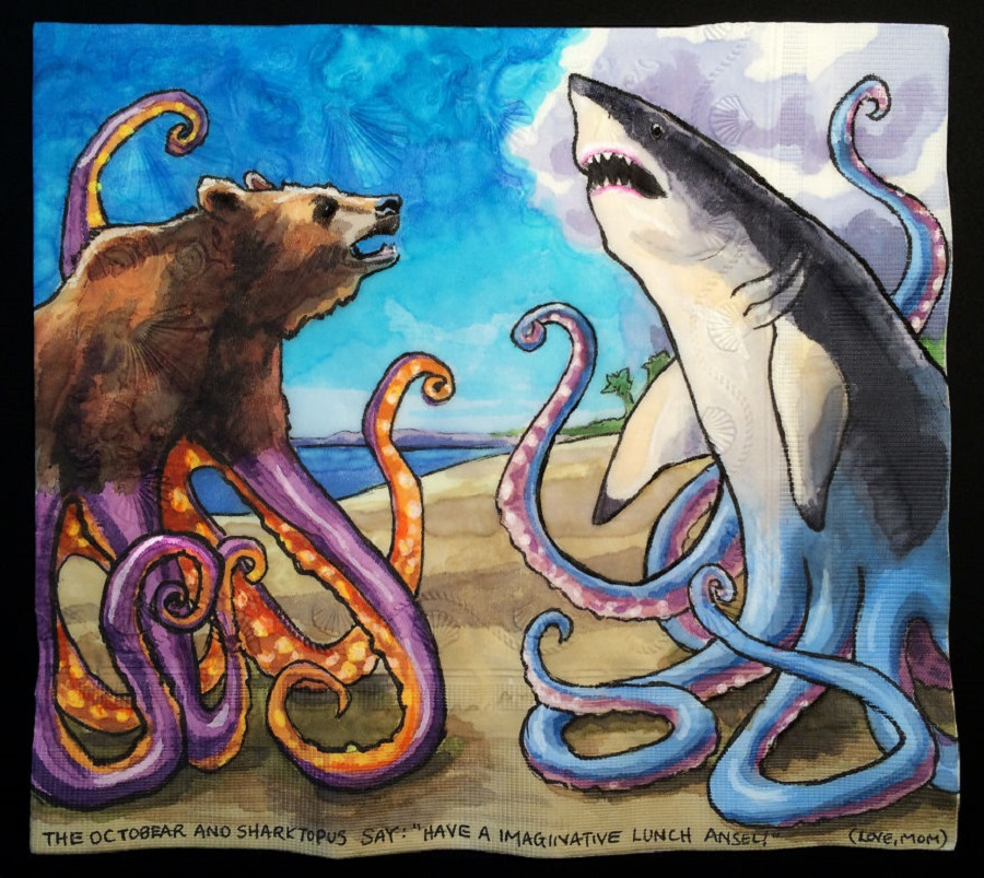 Nina Levy - Napkin Drawings - Octobear and Sharktopus