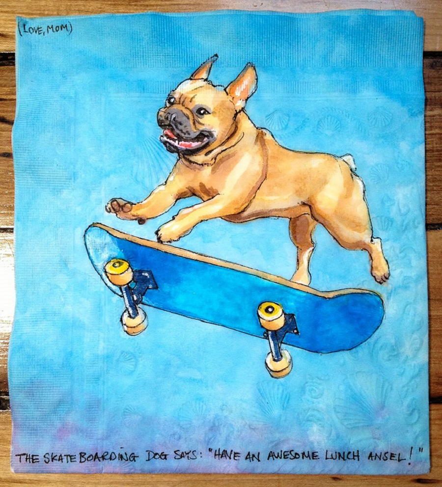 Nina Levy - Napkin Drawings - Skateboarding Dog