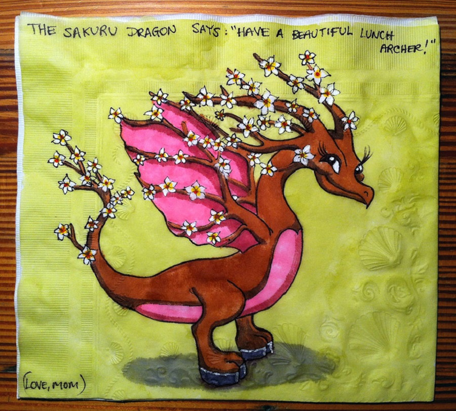 Nina Levy - Napkin Drawings - Spring Cherry Blossom Themed Dragon