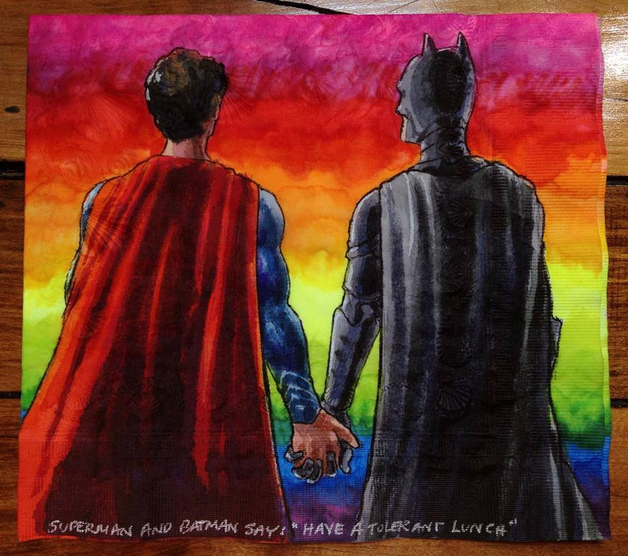 Nina Levy - Napkin Drawings - Superman and Batman Observe Gay Pride Month