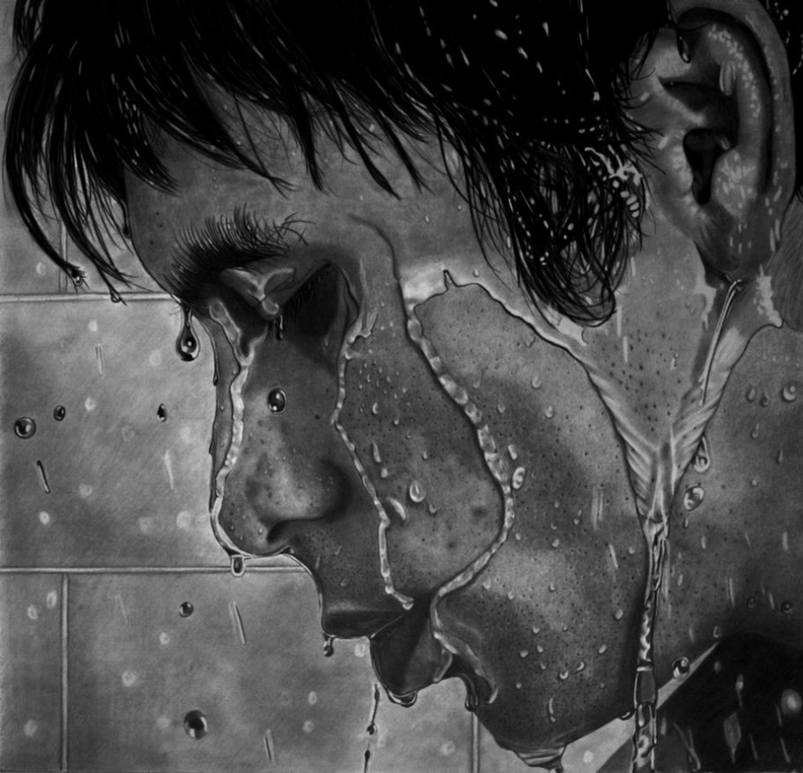 Paul Stowe - Pencil Drawing - Shower