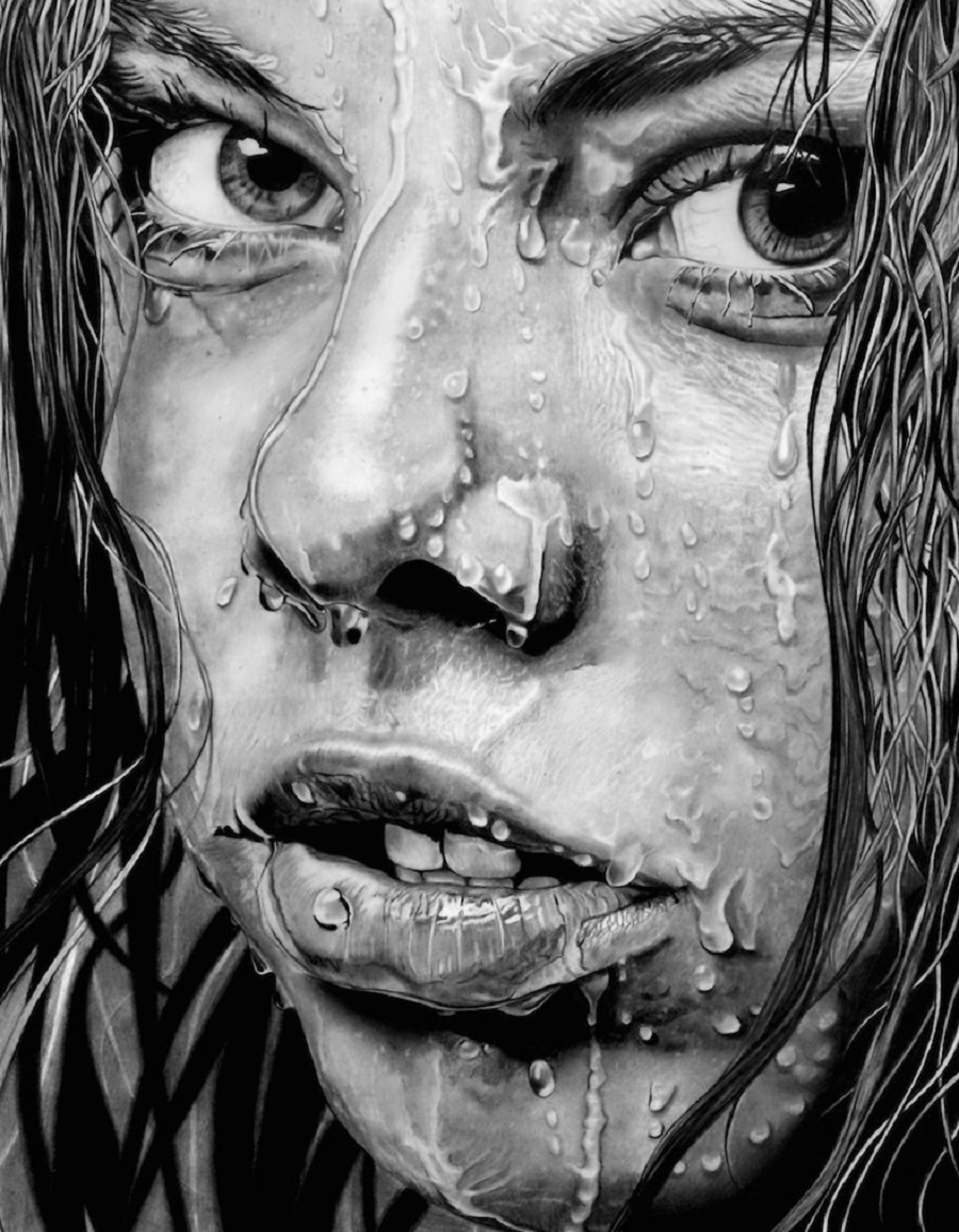 Paul Stowe – Pencil Drawing – Wet Face