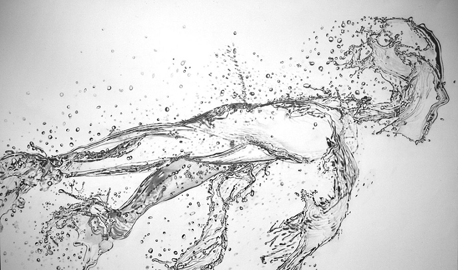 Paul Stowe - Pencil Drawing - running water