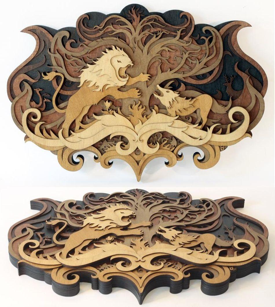 Martin Tomsky laser cut wood crest