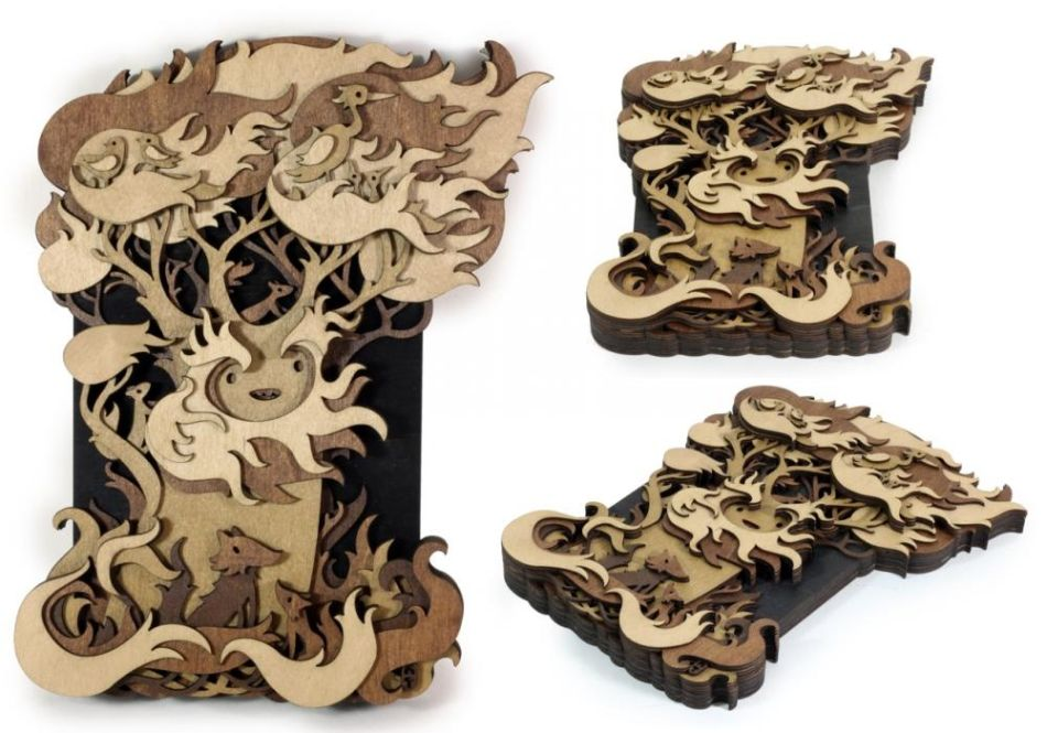 Martin Tomsky laser cut wood guardian