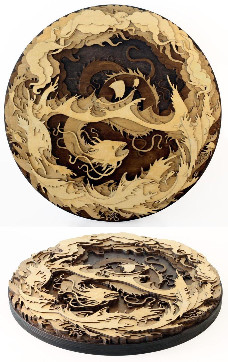 Martin Tomsky laser cut wood sea serpent