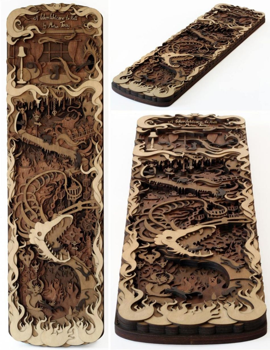 Martin Tomsky laser cut wood -warm-welcome