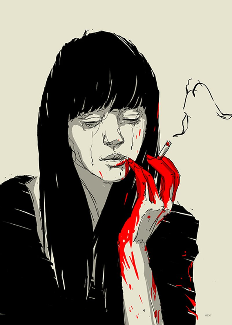 Kaloian Toshev-Girls-Drawings-Dark-girl-Smoking