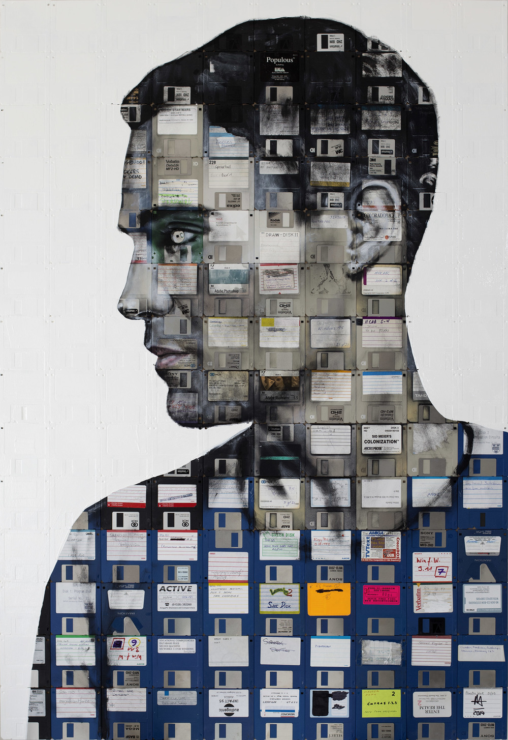 NICK GENTRY - Painting-Negative disks Self Portrait
