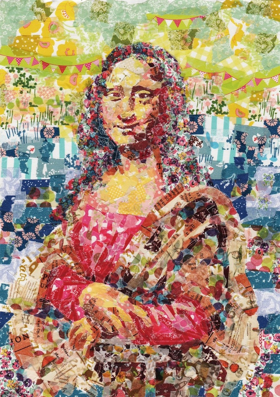 nasa-funahara-masking-tape-painting-Mona Lisa by Leonardo da Vinci