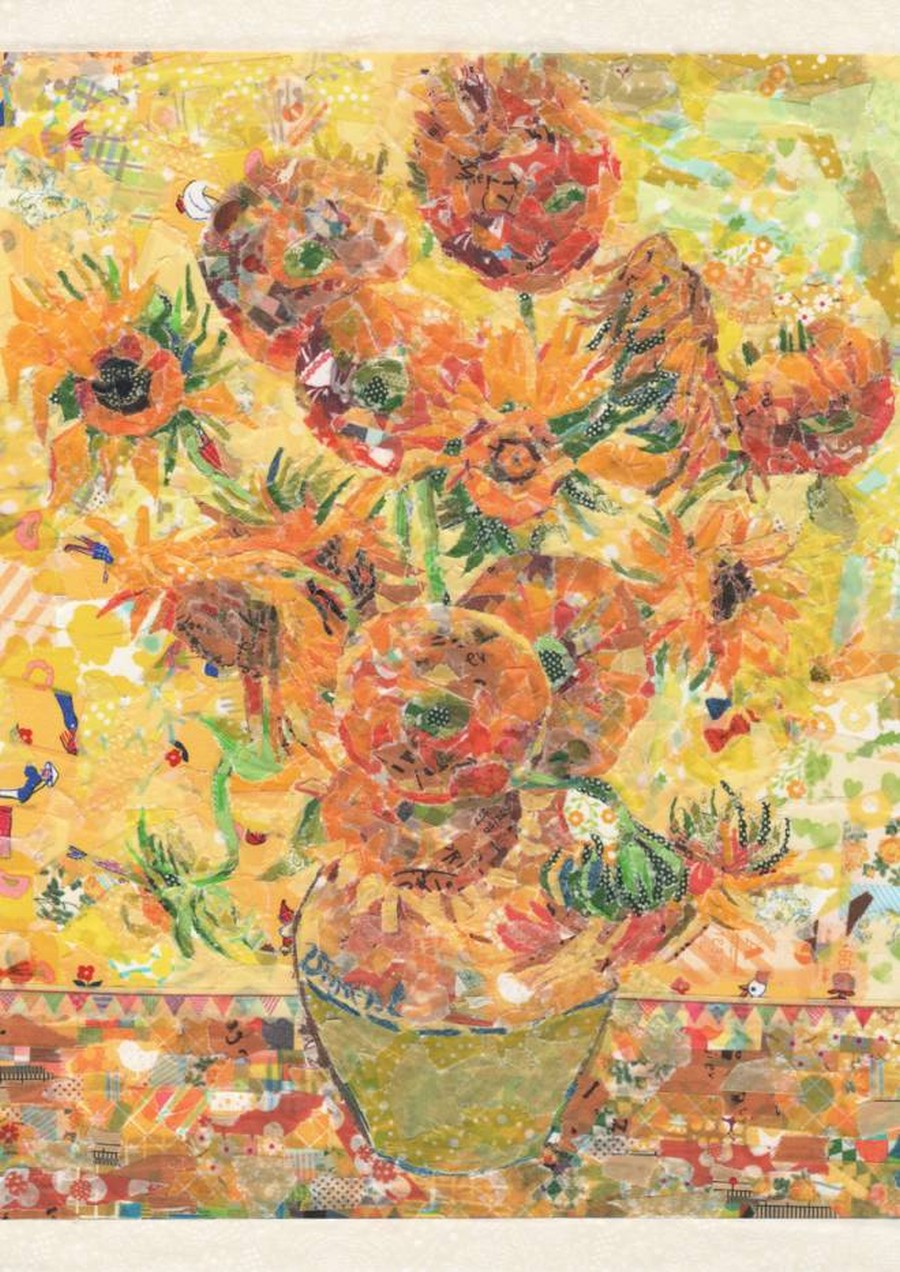 nasa-funahara-masking-tape-painting-Sunflowers by Vincent van Gogh
