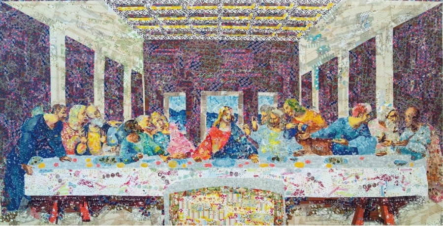 nasa-funahara-masking-tape-painting-The Last Supper by Leonardo da Vinci