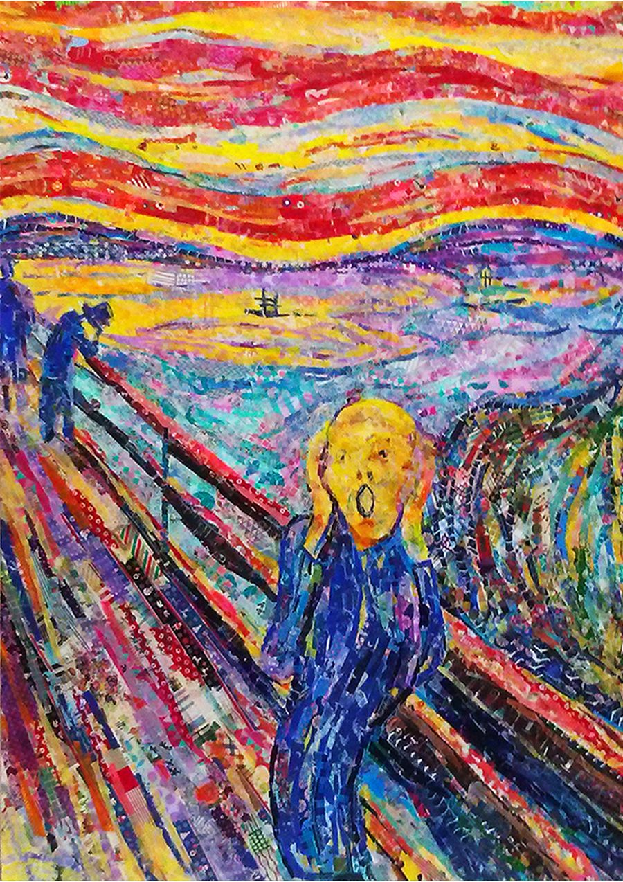 nasa-funahara-masking-tape-painting-The Scream by Edvard Munch