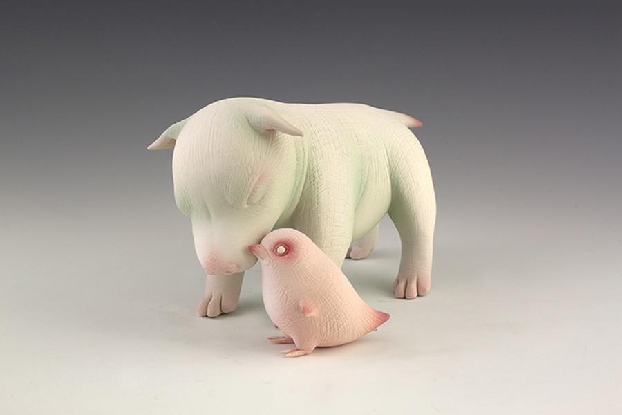 Erika Sanada - Animal Ceramic Sculpture - Buddy