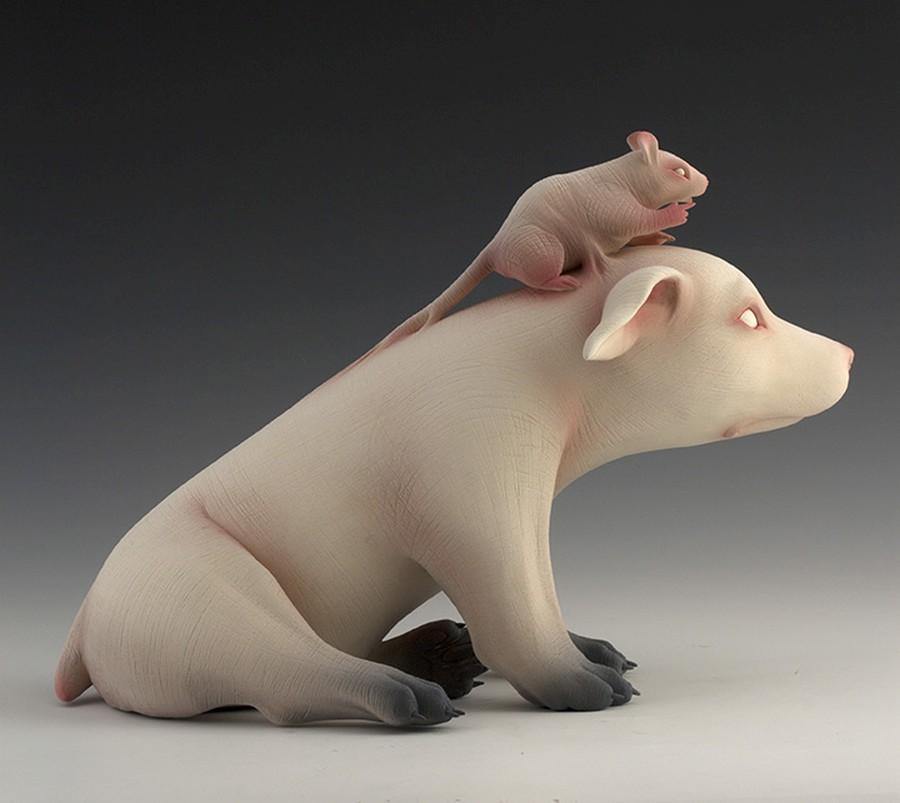 Erika Sanada - Animal Ceramic Sculpture - Charge