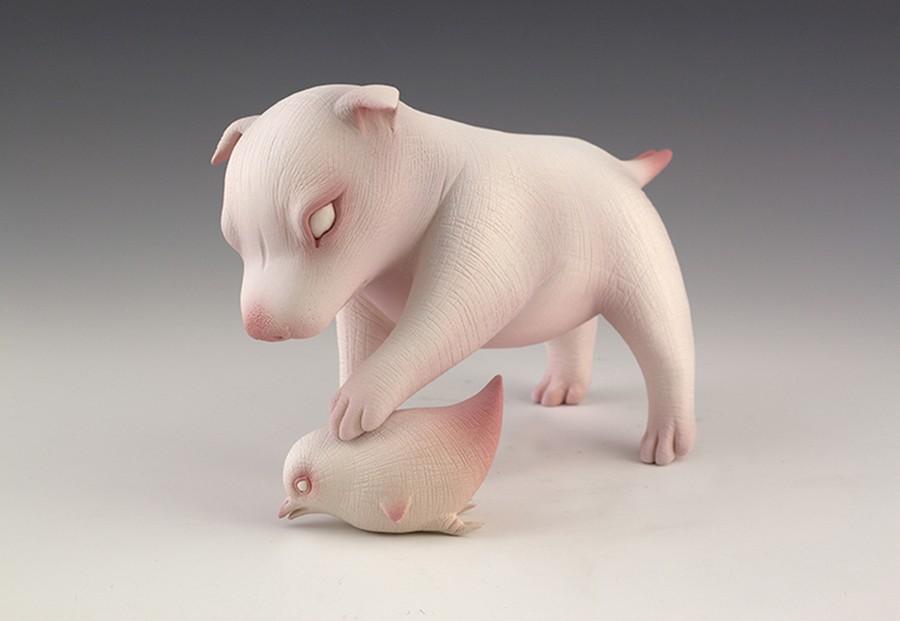 Erika Sanada - Animal Ceramic Sculpture - Play With Me