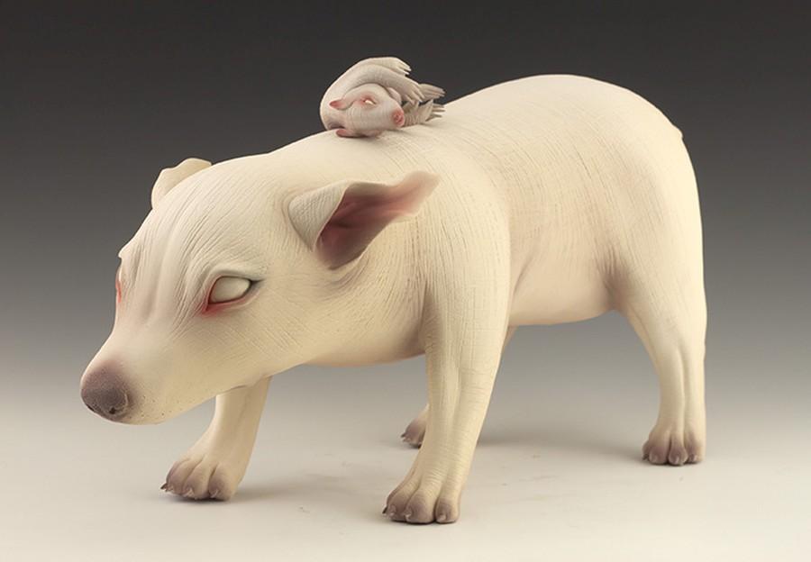 Erika Sanada - Animal Ceramic Sculpture - Returned Soldier