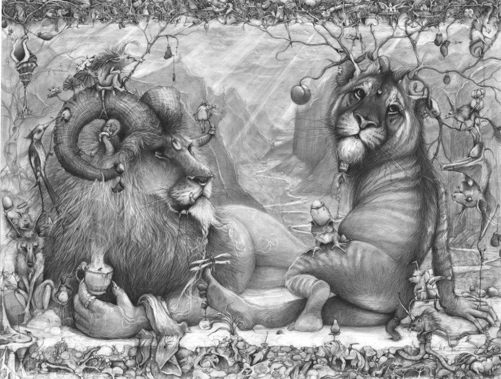 Adonna Khare-Drawings-lion-tiger
