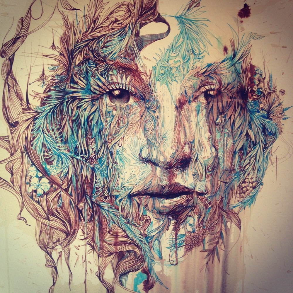 Carne Griffiths-Drawings-Tea-Ink-Portraits-4628