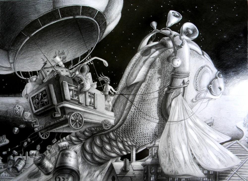 Lena Klyukina-Pencil-Drawings-Fish of Destiny