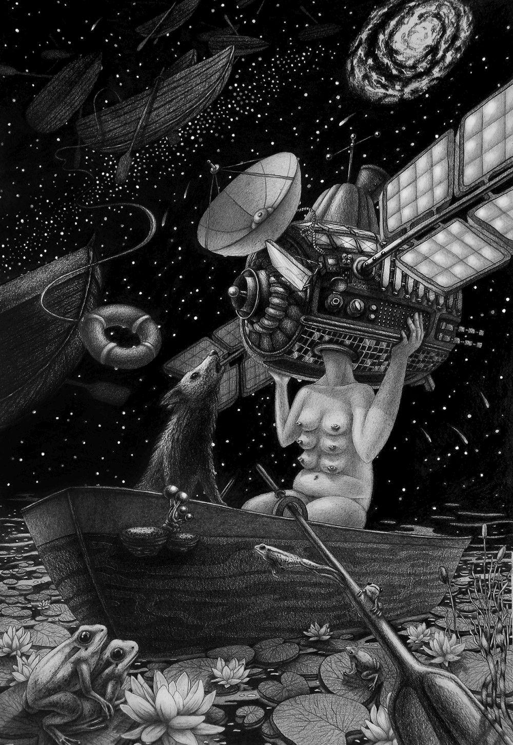 Lena Klyukina-Pencil-Drawings-Someone missing