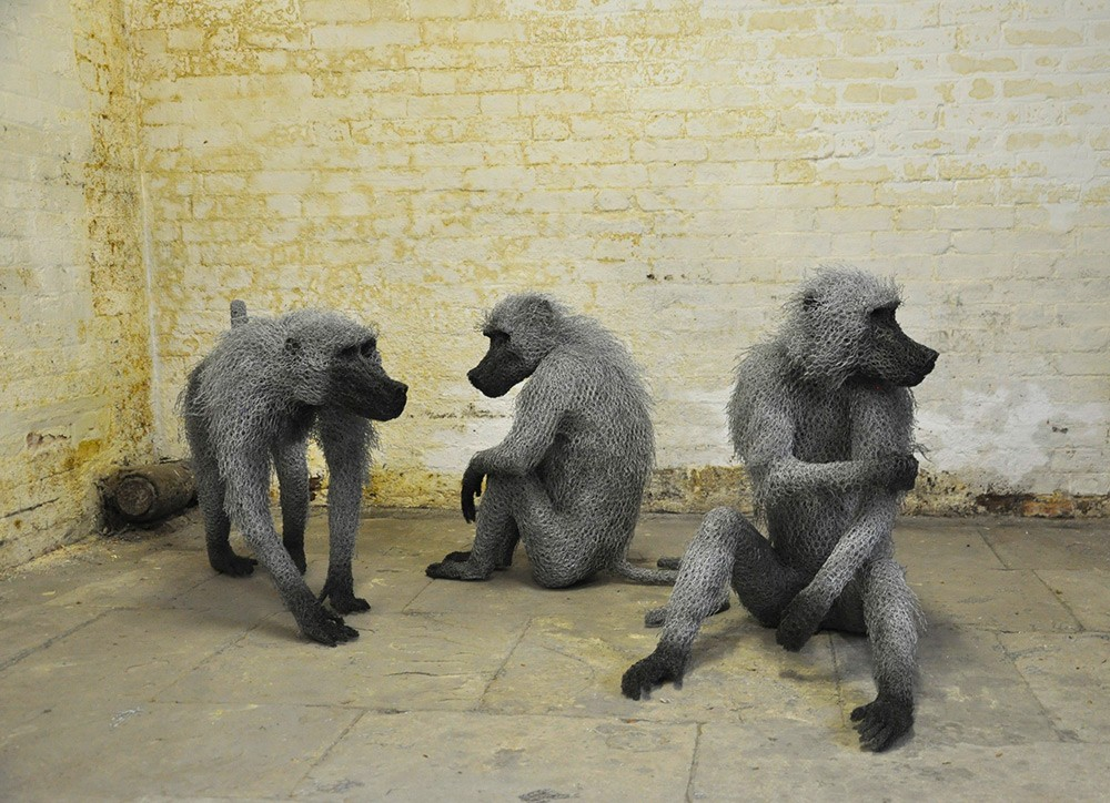 Kendra Haste Animal Wire Sculpture BABOON TROOP