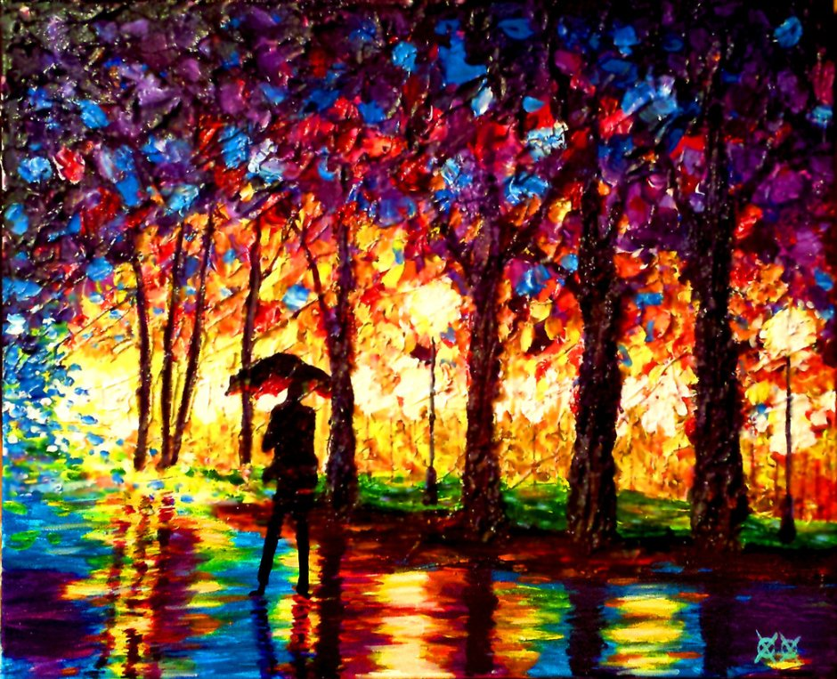John Bramblitt-Paintings-Stroll_in_rain