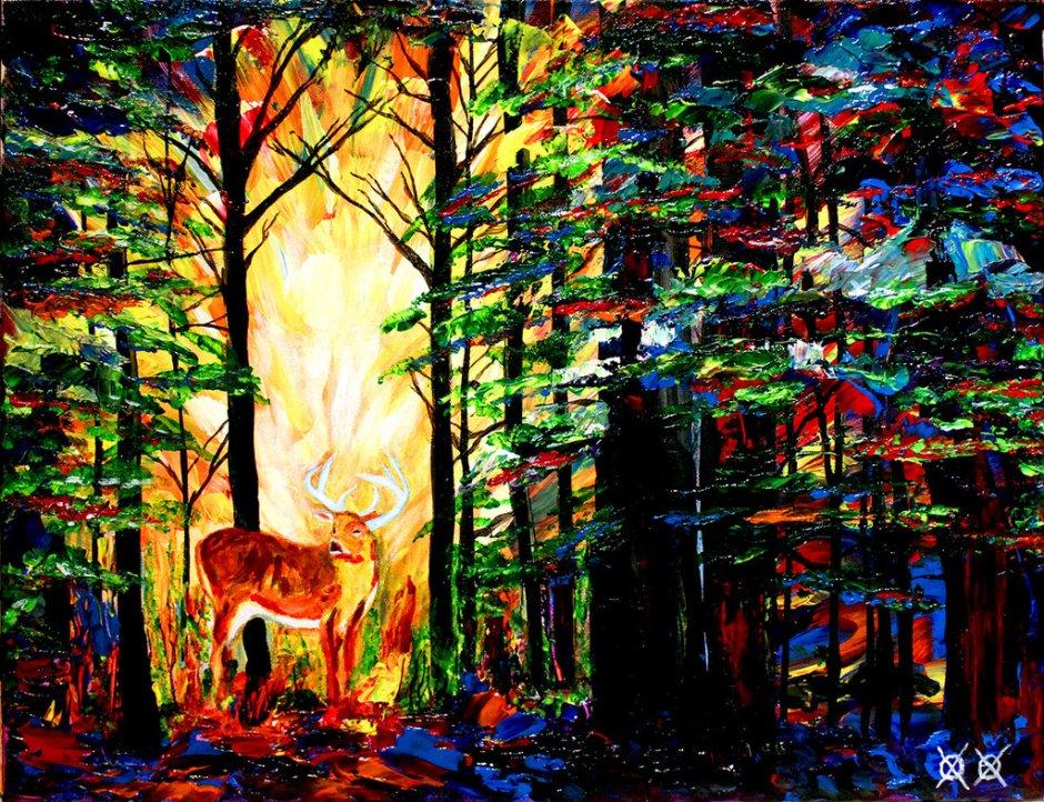 John Bramblitt-blind-artist-Paintings-forestcathedral