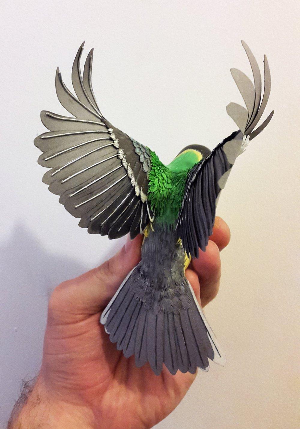 Zack Mclaughlin Bird Sculpture wood paper 1747