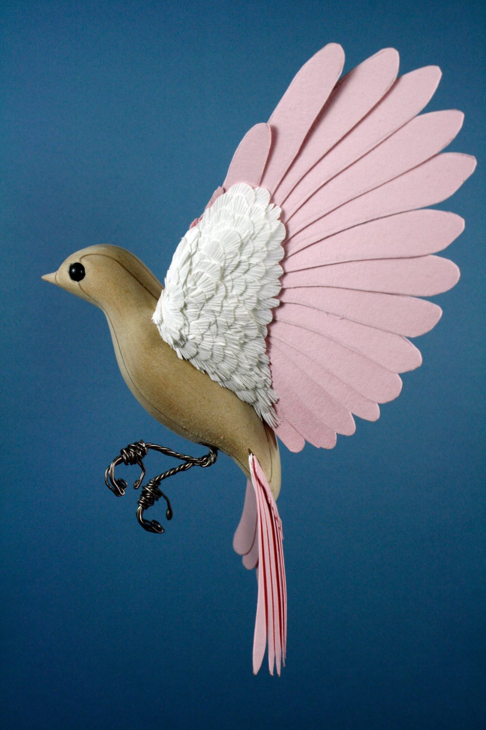 Zack Mclaughlin Bird Sculpture wood paper 8145