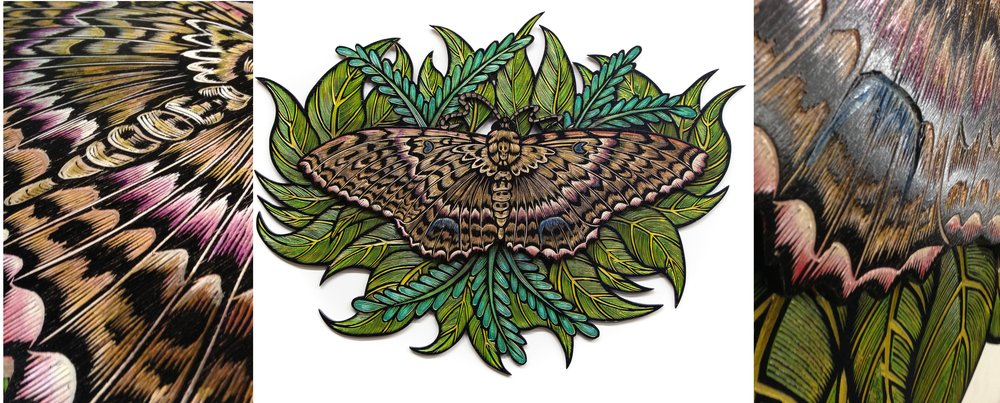 Dennis McNett - Wood Carvings - Black Witch Moth