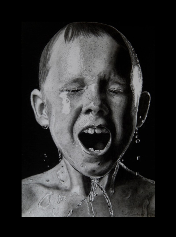 Keith More hyperrealistic drawings_Ice bucket
