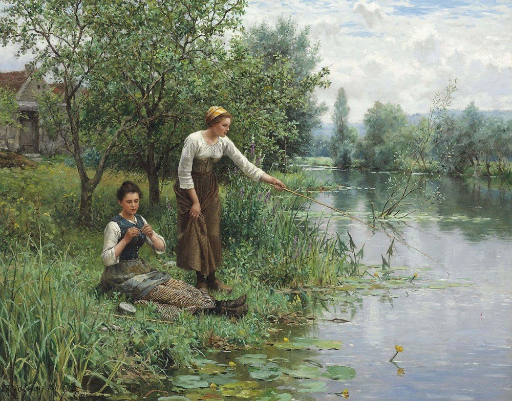 Daniel Ridgway Knight -Painting- Two Women Fishing