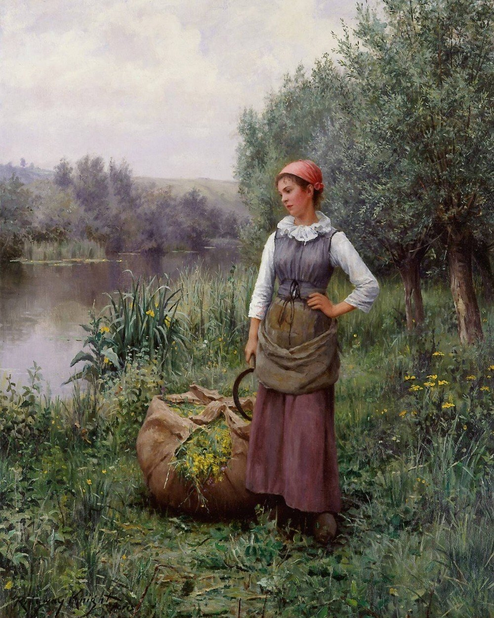 Daniel_Ridgway_Knight_Painting_ Girl by a Stream-Flanders
