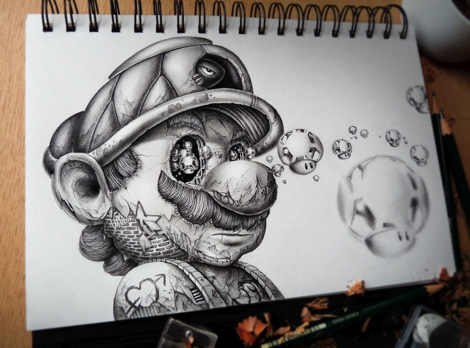 French Pez Pencil Drawings Mario Brother Moments Journal