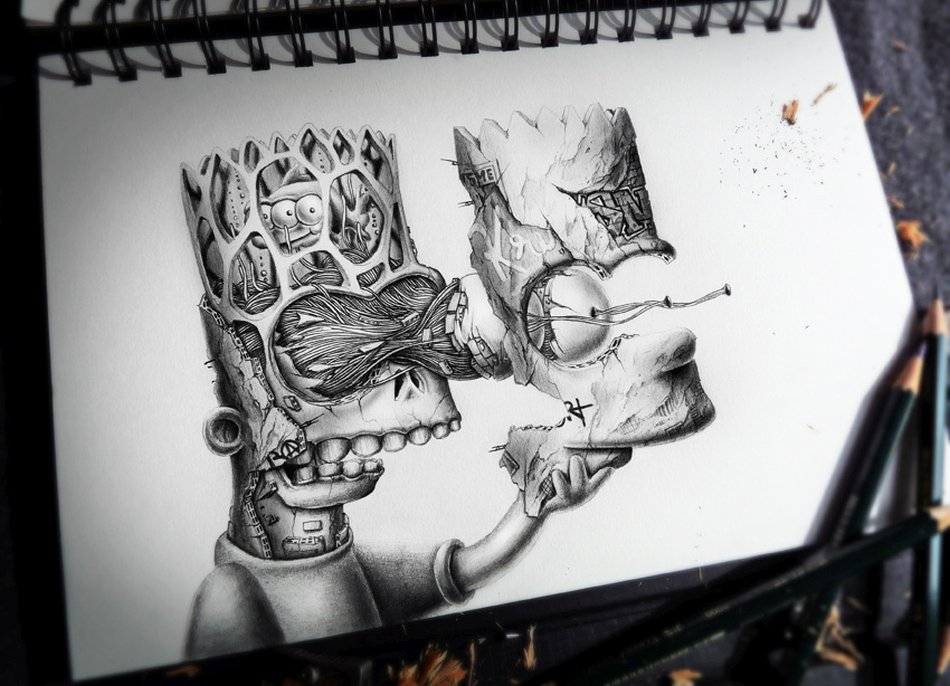 French Pez Pencil Drawings - brat