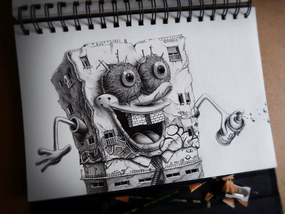 French Pez Pencil Drawings -sponge bob
