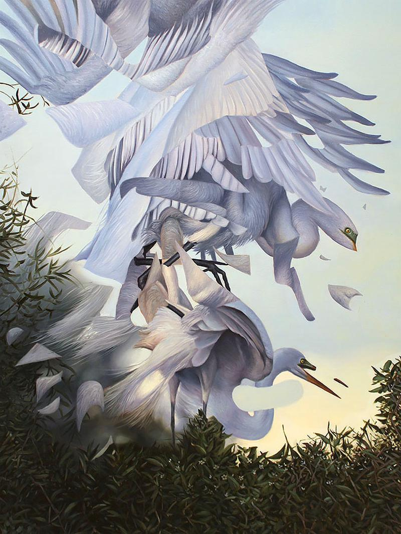 Angela Gram Paintings - Egrets Mating